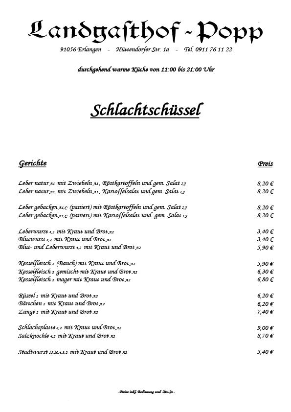 Landgasthof-Popp, Erlangen, Fürth, Nürnberg, Hüttendorf, Erlangen-Hüttendorf, Franken, Metropolregion-Nürnberg, Speisekarte, Getränkekarte, fränkisches-Essen, Gemütlichkeit, Gasthaus, Fremdenzimmer, Metzgerei, Metzgerei-Popp, Biergarten, Schatten, Kegelbahn, Öffnungszeiten, Bier, Wein, Wasser, Limo, Getränke, Essen, Trinken, Schlachtschüssel